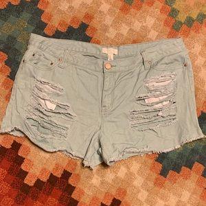 EUC Forever 21 Plus Distressed Denim Shorts 18